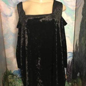 Catherines Black Velour Cold Shoulder Tunic Top